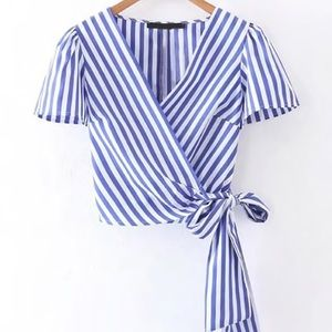Tops - Blue Stripped Tie Up Top